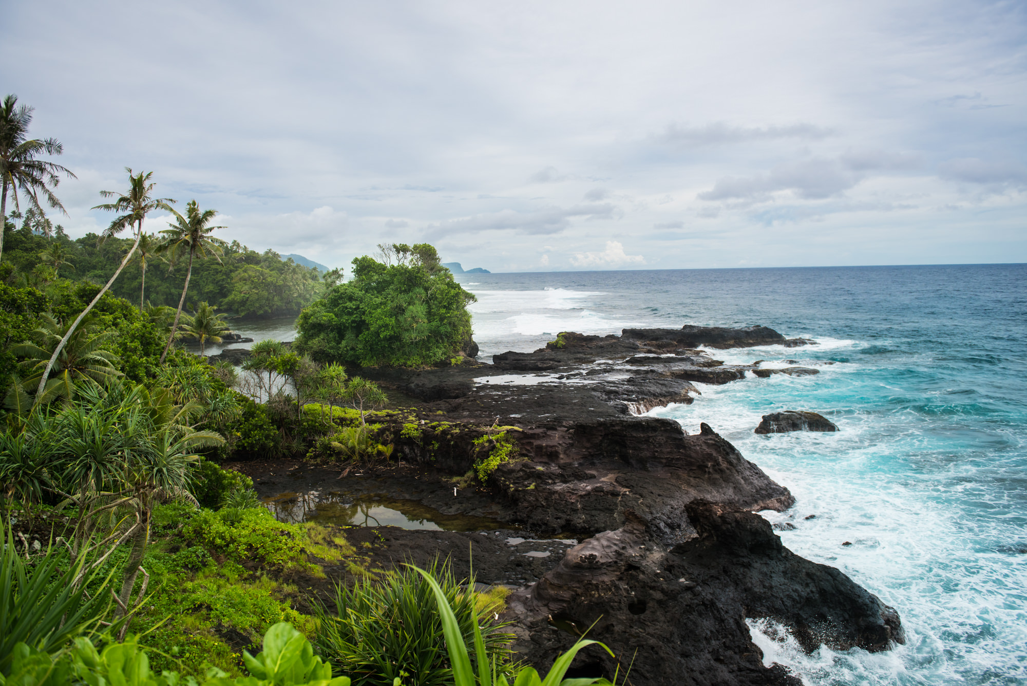 A beautiful tropical coastline view in Samoa