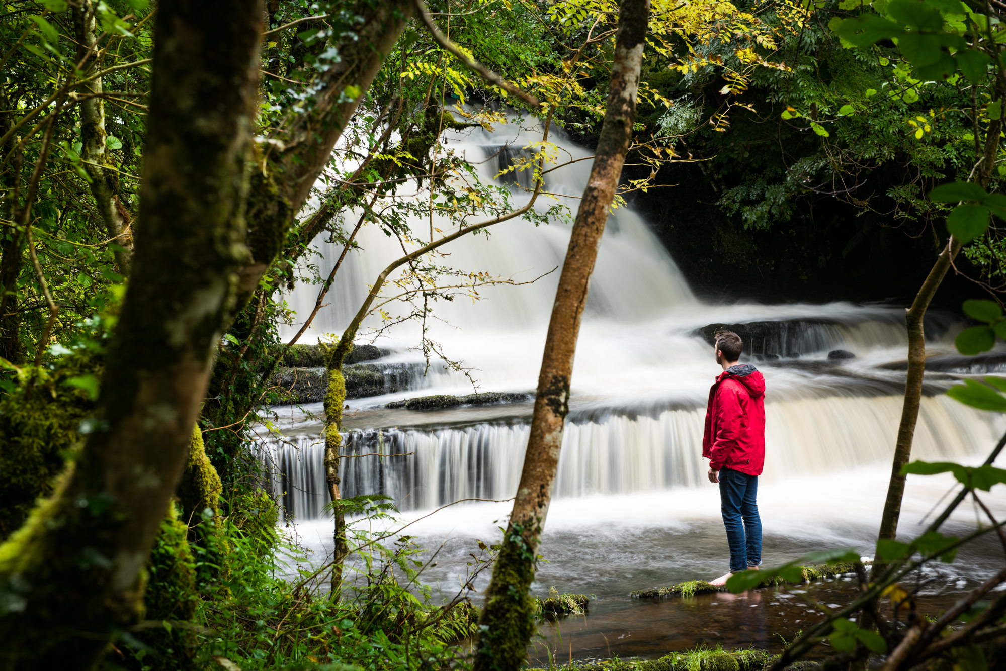 A man looking up at Fowley Falls