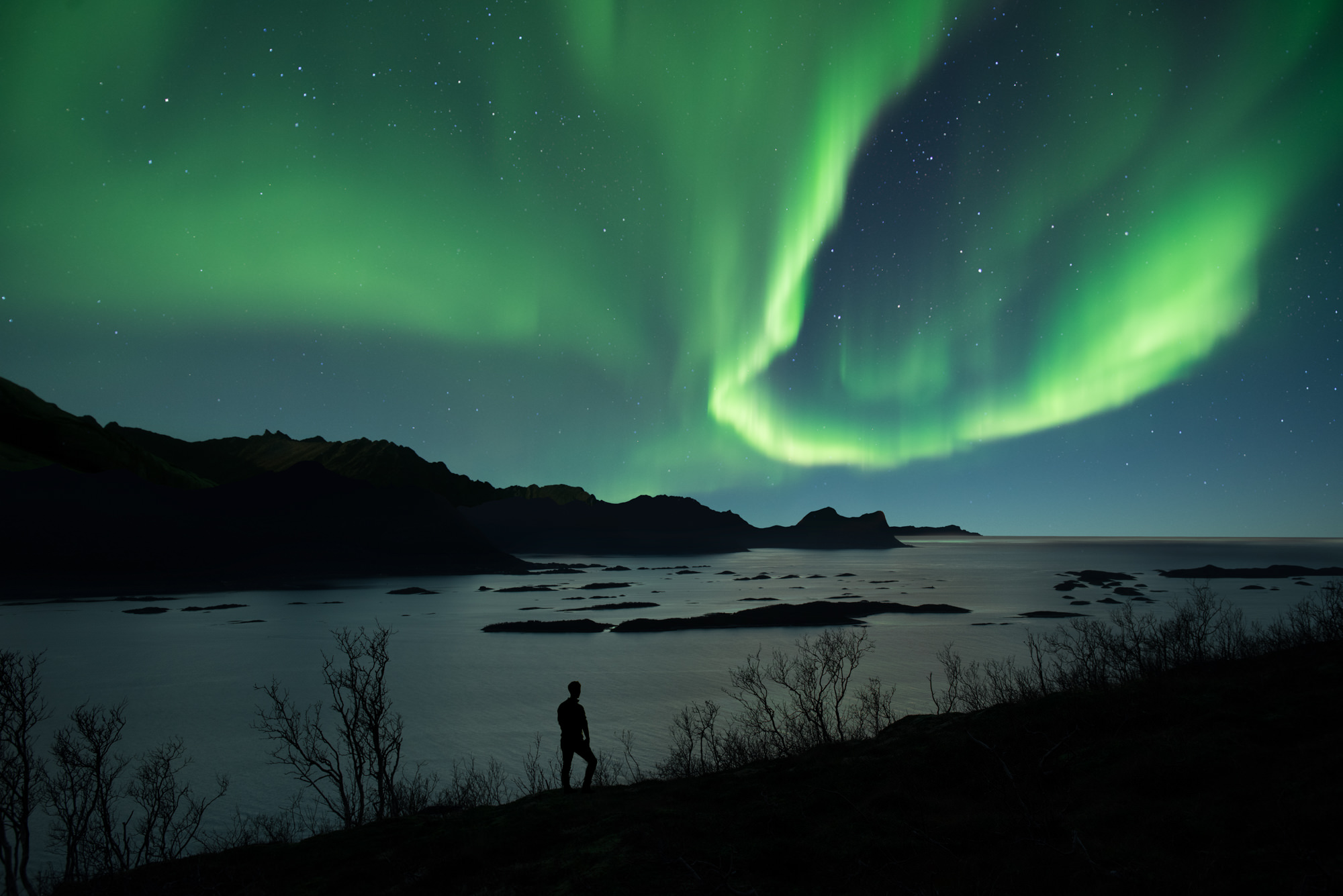 A man watches the aurora across a fjord