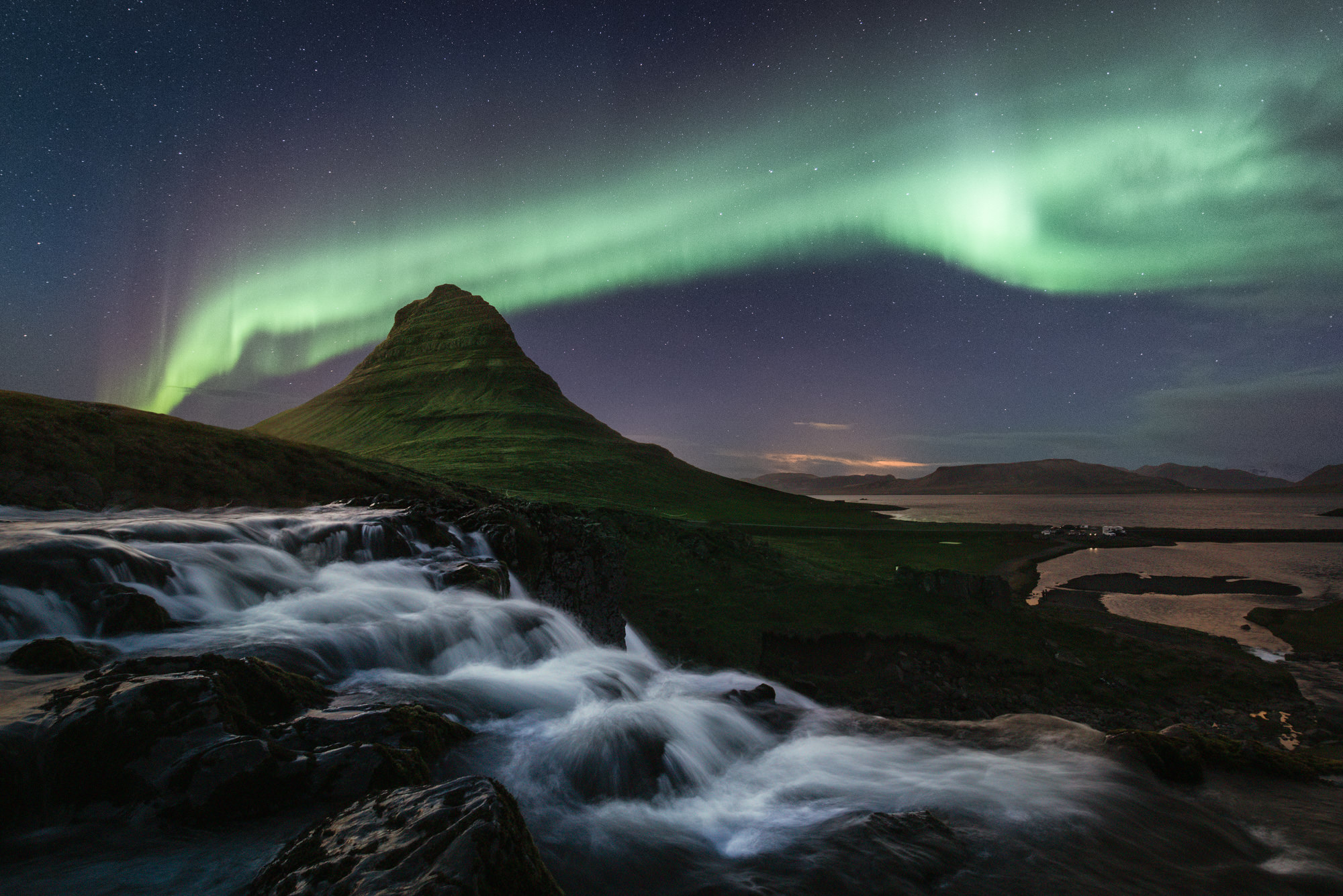 The Aurora across Kirkjufell mountain