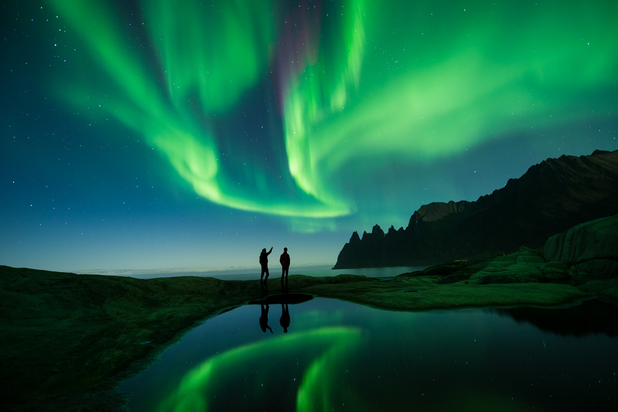 Two friends watching the northern lights in norway