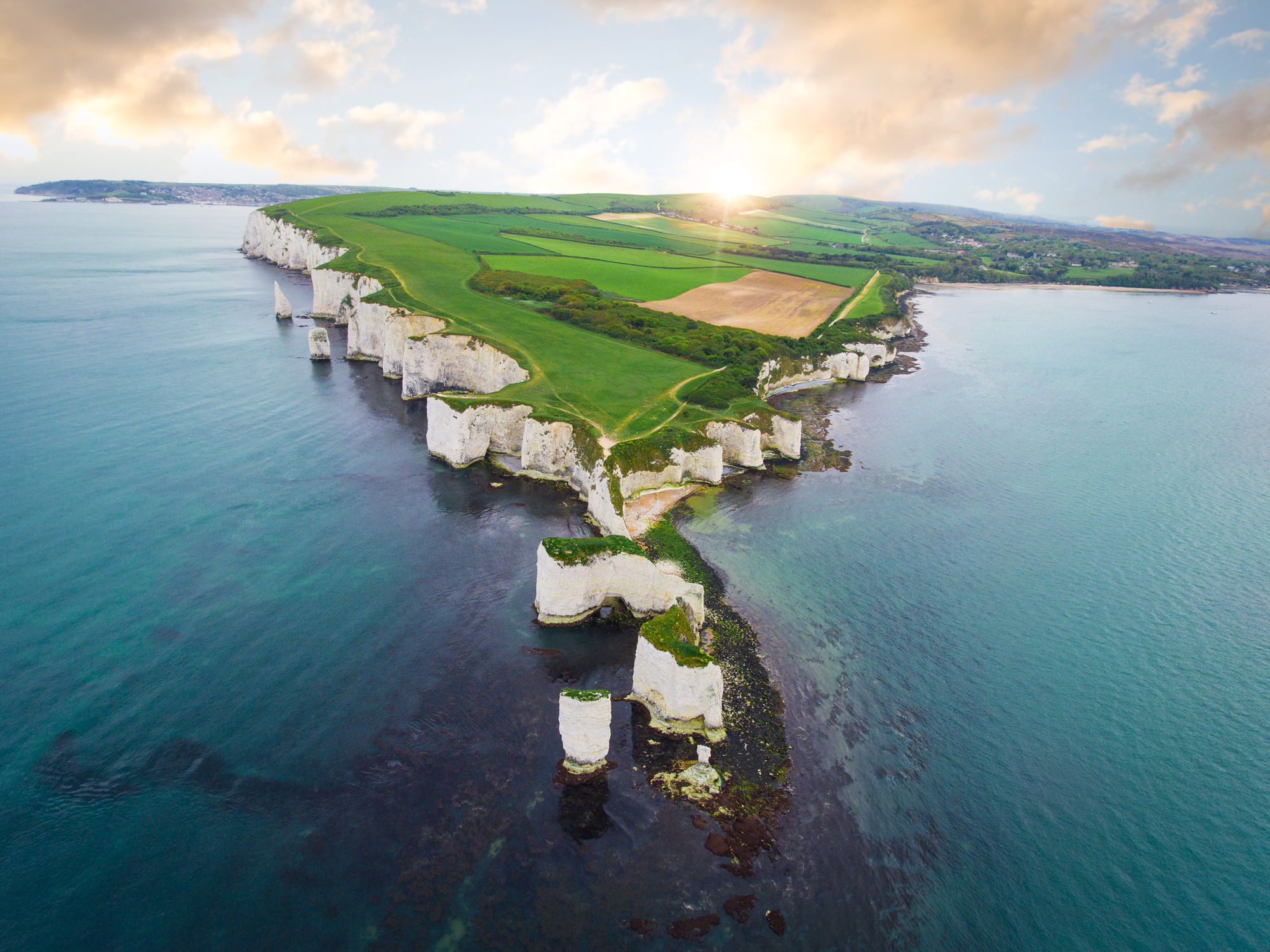 Aerial Image of Old Harry Rocks at sunset