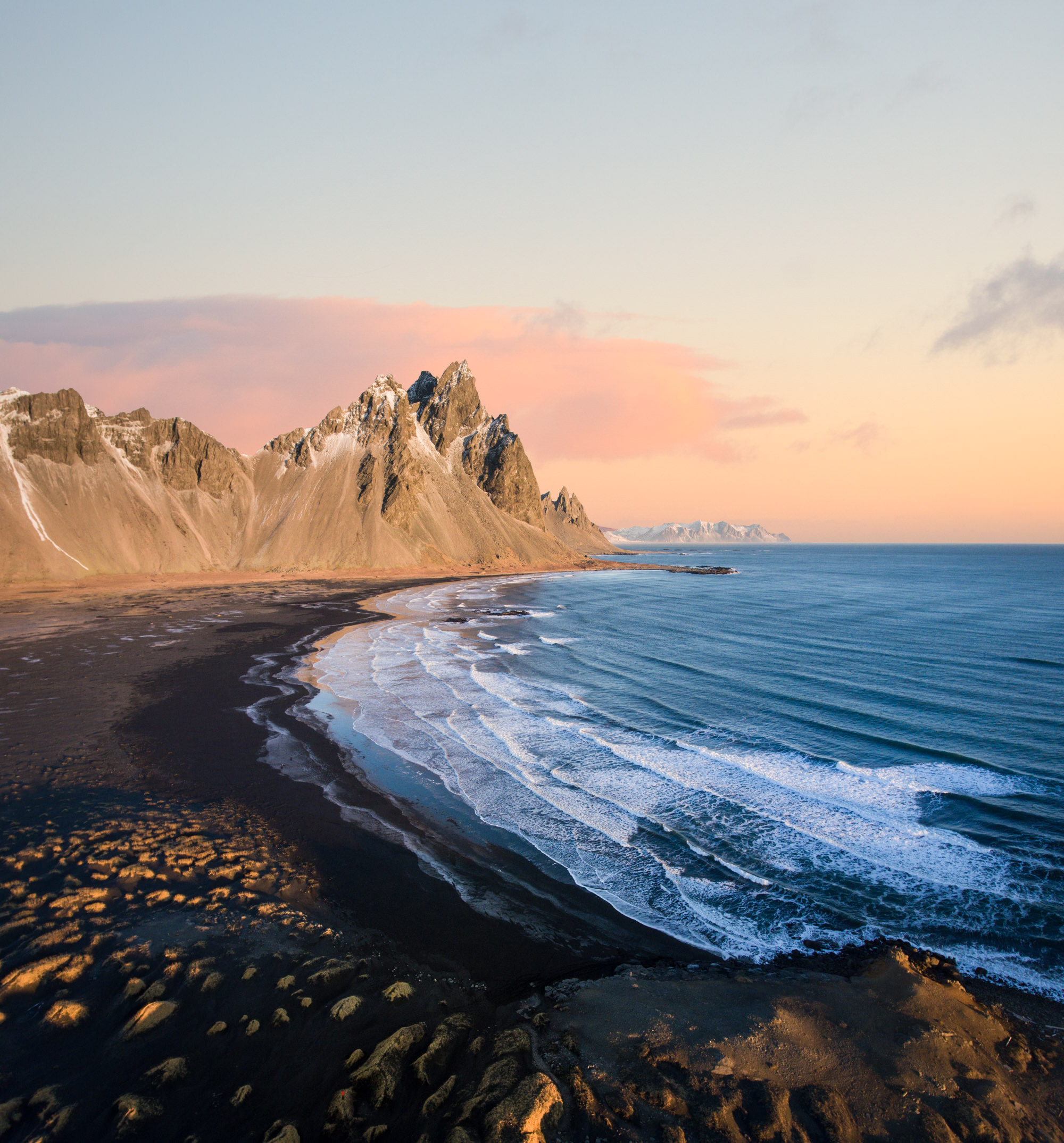 Aerial image of Stokkness Iceland at sunrise