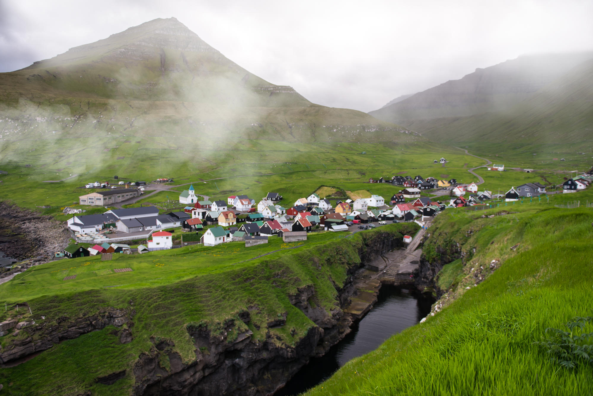 A Faroese fishing village in the clouds