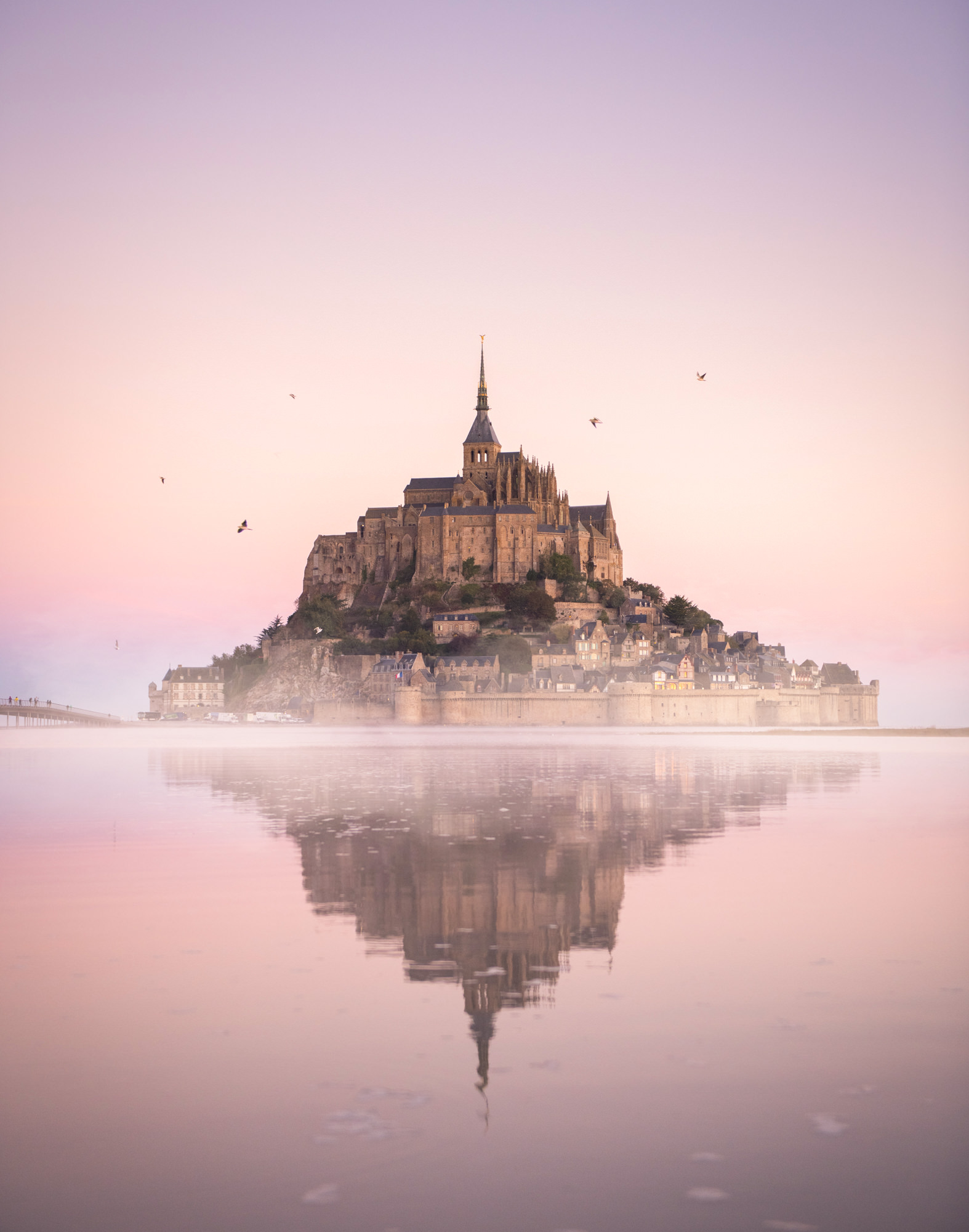 A fairytale castle in France at sunrise