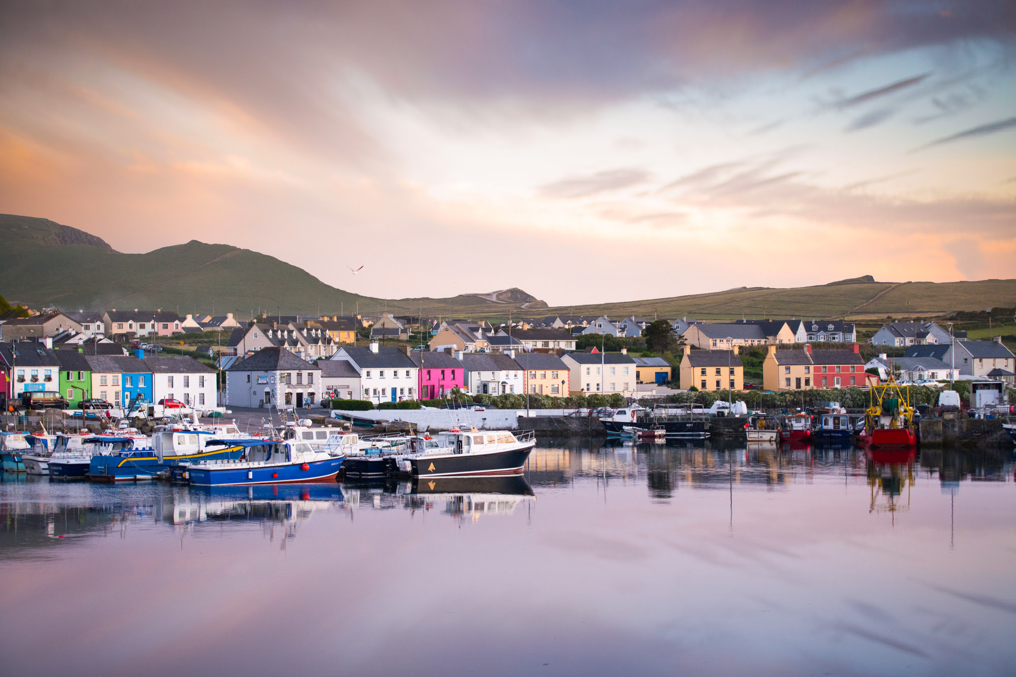Sunset in a beautiful village in Ireland with brightly coloured houses