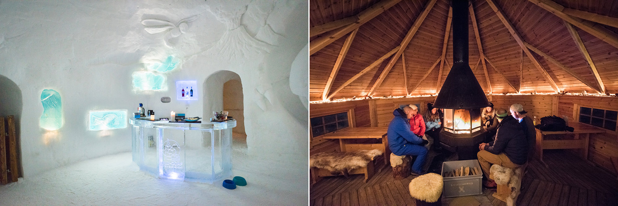 An ice hotel and a cosy wooden fire room